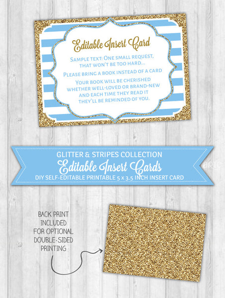 Editable Insert Card Baby Blue Stripes & Gold Glitter