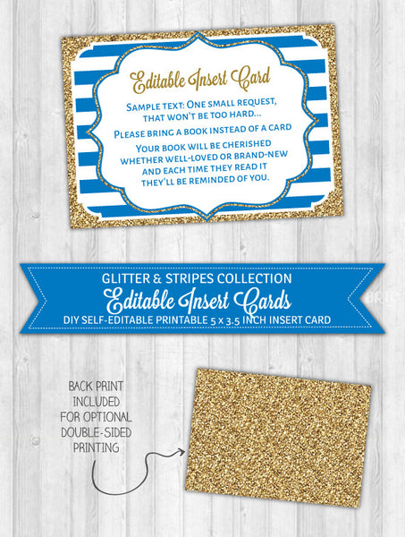 Editable Insert Card Navy Blue Stripes & Gold Glitter