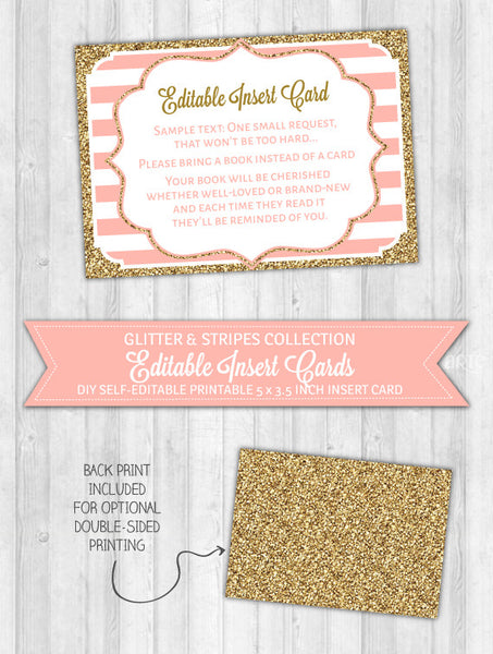 Editable Insert Card Blush Pink Stripes & Gold Glitter