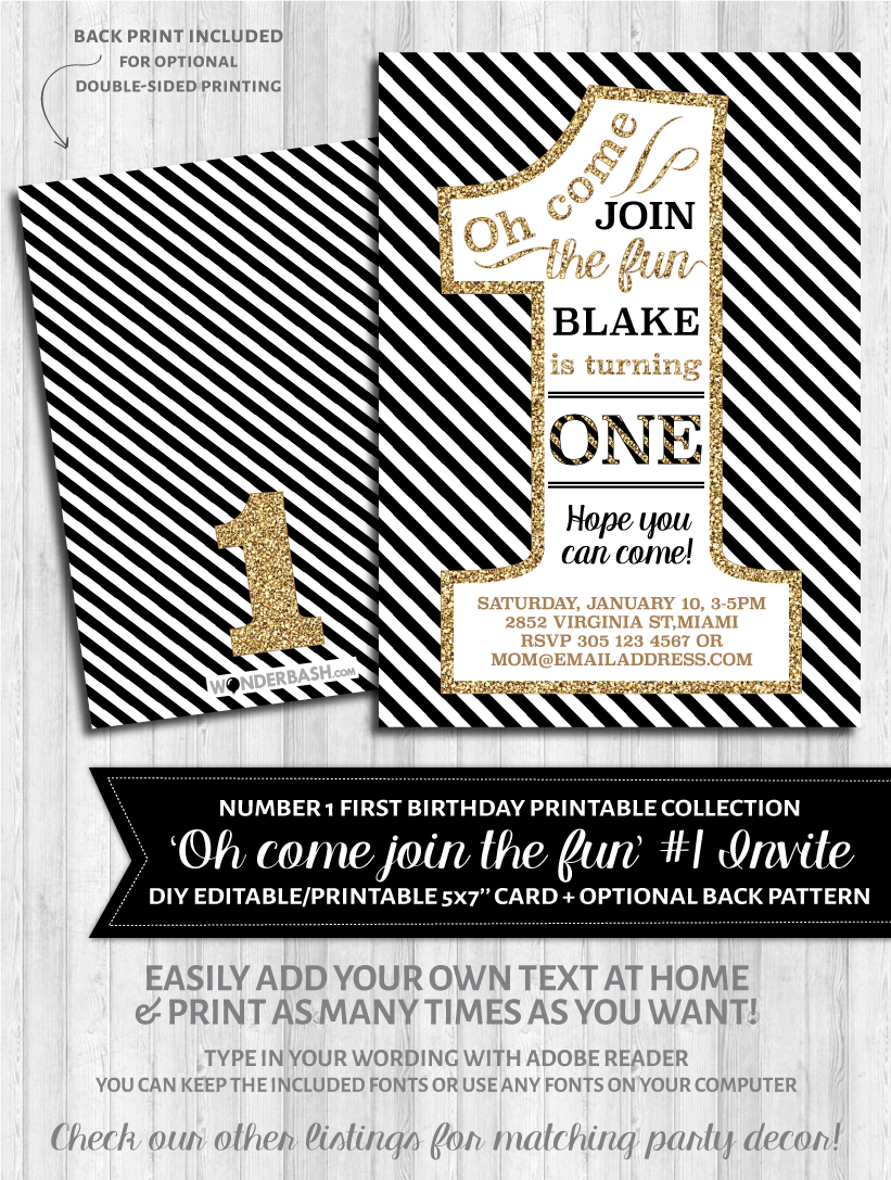 First birthday party invitations 1 black and gold glitter first birthday party invitations 1 black white and gold glitter filmwisefo