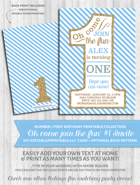 First Birthday Party Invitations - 1 - Blue and gold glitter