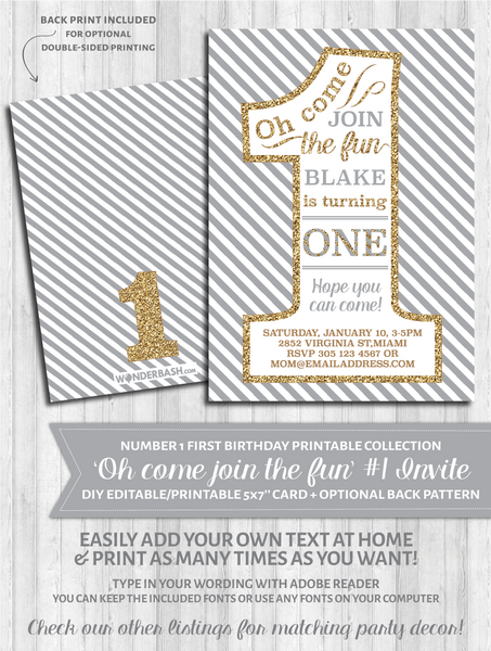 First Birthday Party Invitations - 1 - Gray and gold glitter