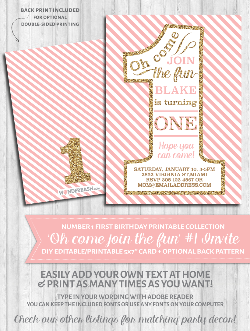 First birthday party invitations 1 blush pink and gold wonderbash first birthday party invitations 1 blush pink and gold glitter stopboris Gallery