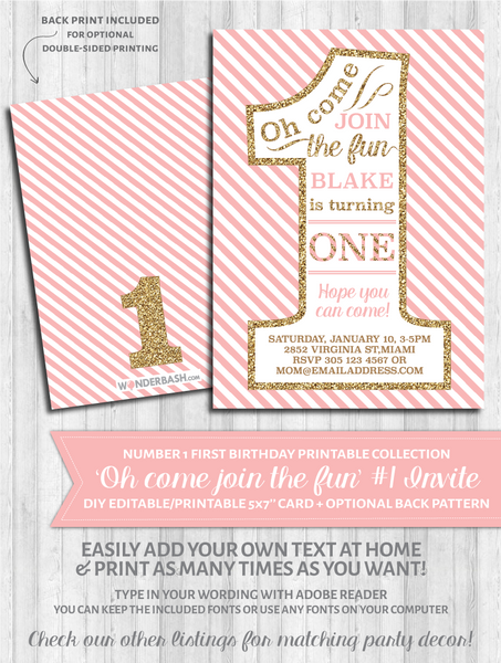 First Birthday Party Invitations - 1 - Blush pink and gold glitter