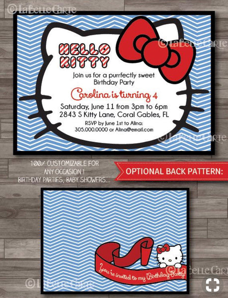 Hello Kitty Printable Invitation - Red & Blue