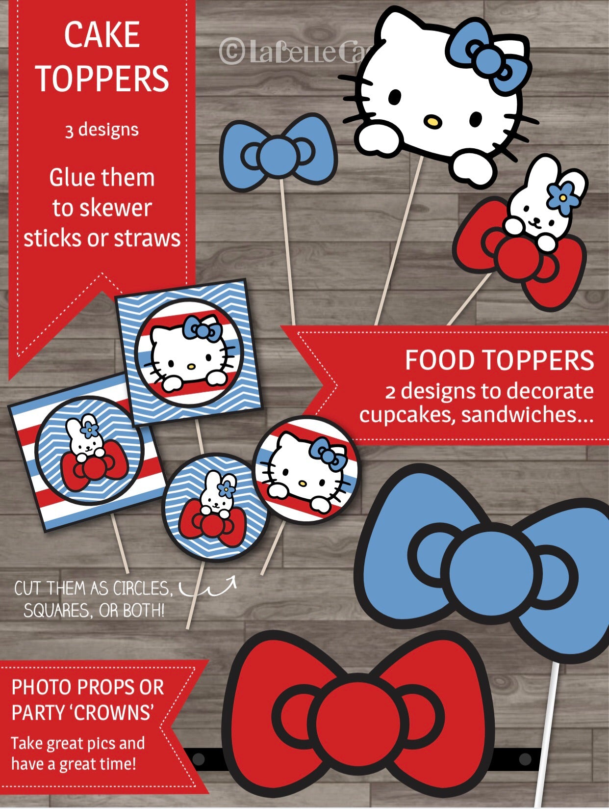 Hello Kitty Party Decor Pack - Red & Blue