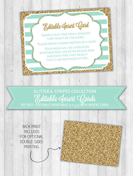 Editable Insert Card Mint Stripes & Gold Glitter