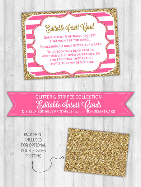 Editable Insert Card Bright Pink Stripes & Gold Glitter