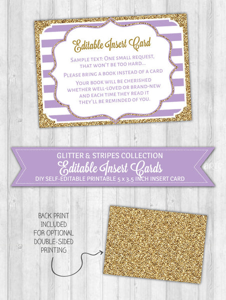 Editable Insert Card Purple Stripes & Gold Glitter