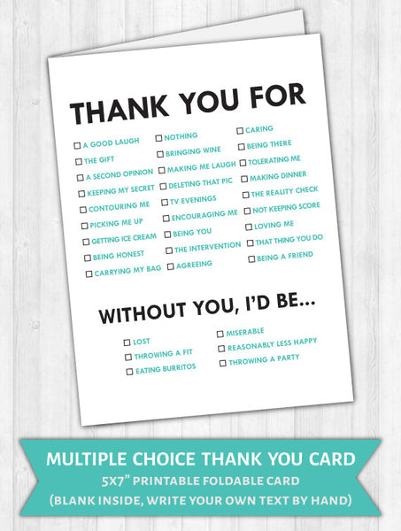 Multiple Choice Fun Thank You Card