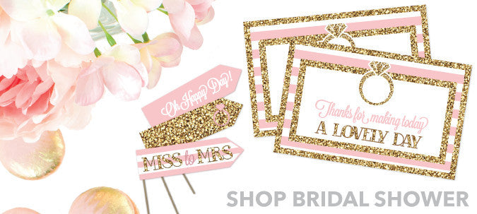 Bridal shower invitations and party decor printable diy ideas