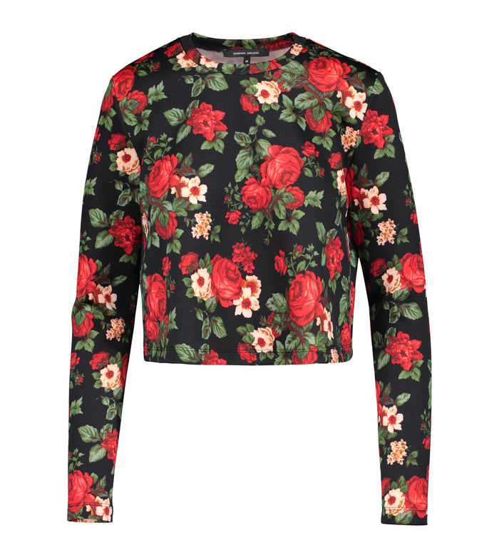 Floral Crew Neck Long Crop