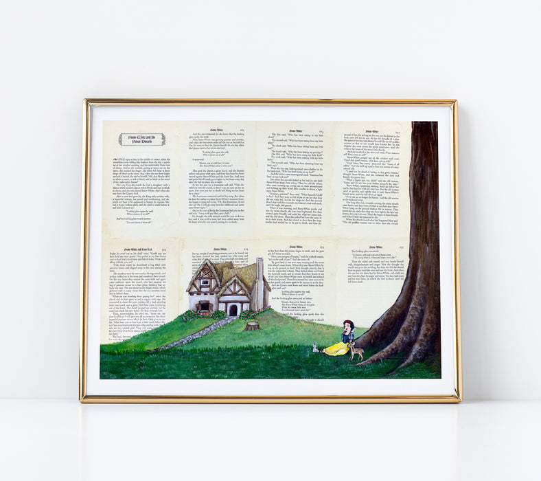 "11"" x 14"" Paper Print of Snow White landscape on Book Pages"