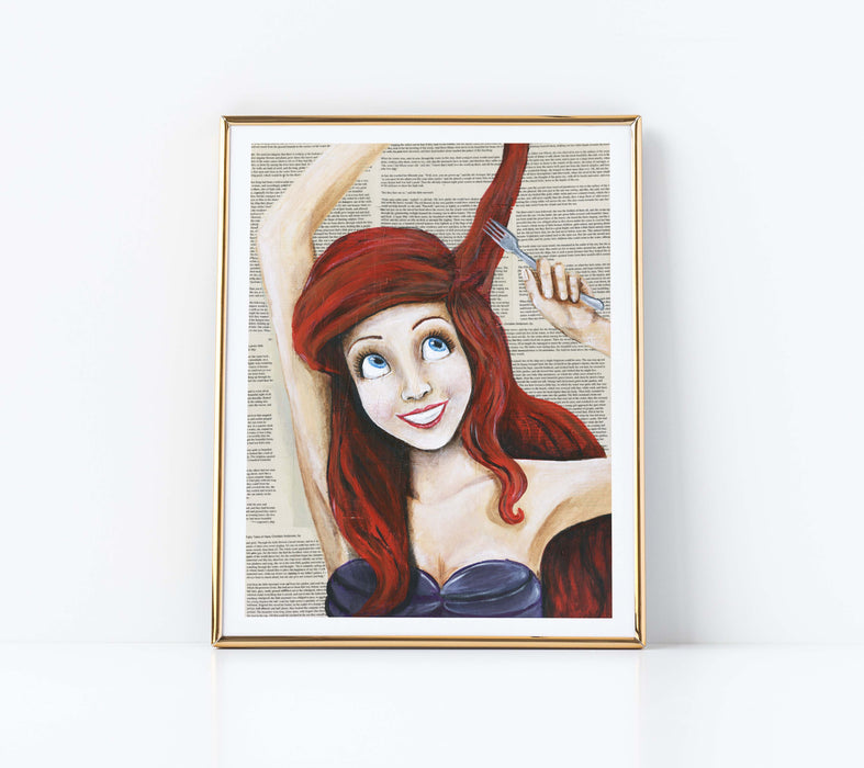 "11"" x 14"" Paper Print of Ariel from The Little Mermaid"