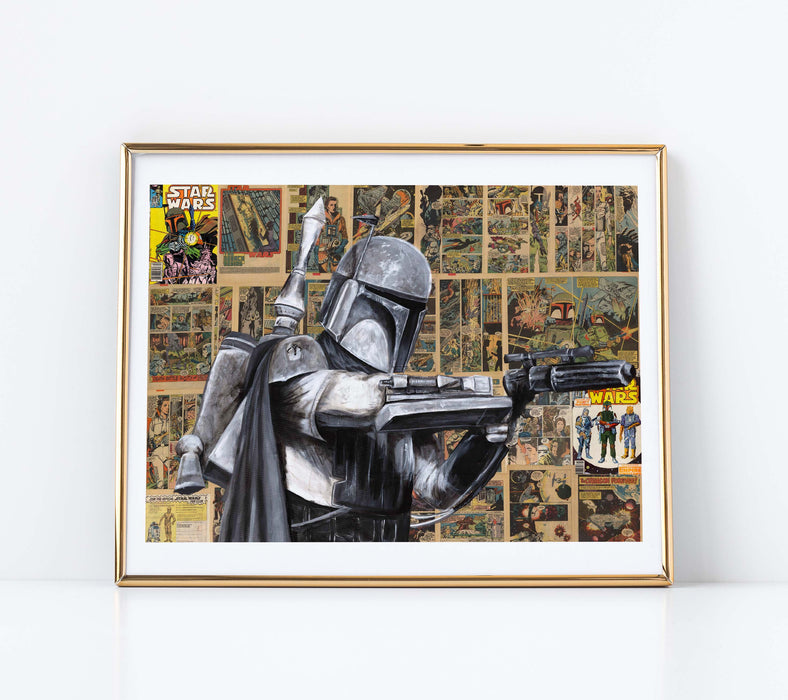 "11"" x 14"" Paper Print of Boba Fett on Comic Book Pages"