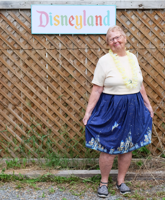 Dreams Come True Midi Skirt with Disney Castle and Tinkerbell