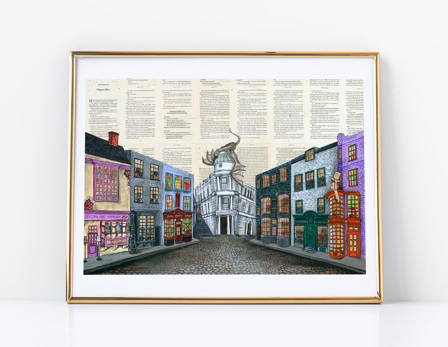 "11"" x 14"" Paper Print of Diagon Alley from Harry Potter"