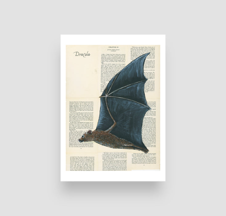 "5"" x 7"" Bat on Dracula Book Pages Paper Print"