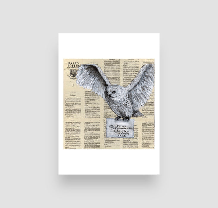 "5"" x 7"" Hedwig in Black and White on Book Pages  from Harry Potter"