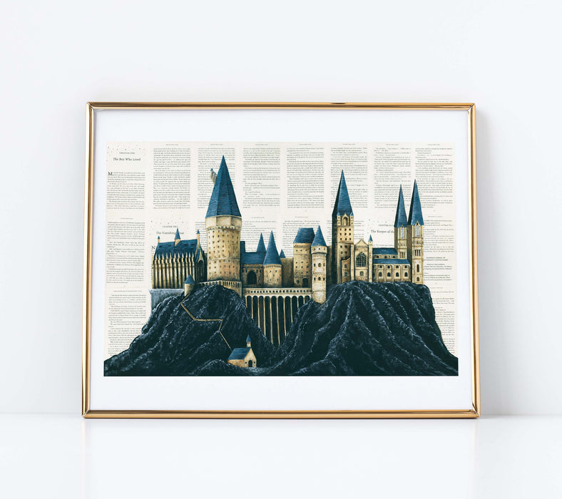 "11"" x 14"" Paper Print of Hogwarts School of Witchcraft and Wizardry"