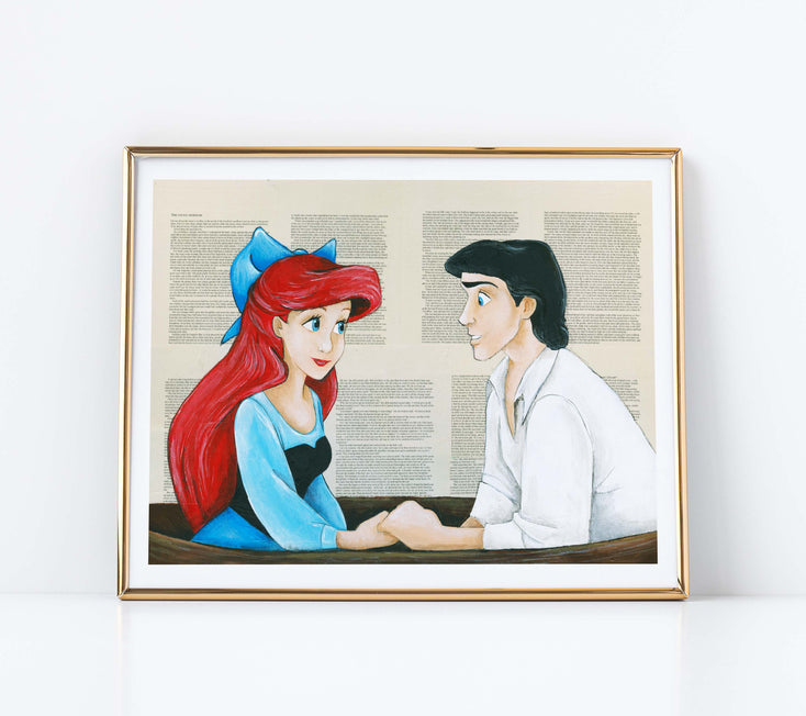 "5"" x 7"" Kiss the Girl Little Mermaid Paper Print"