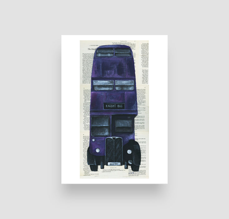 "5"" x 7"" Knight Bus in color on Book Pages  from Harry Potter"