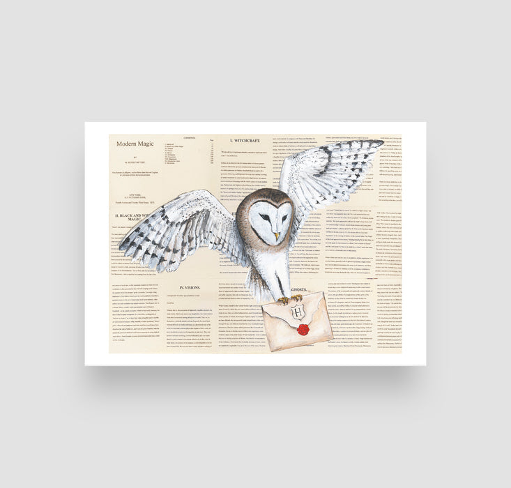 "5"" x 7"" Owl Post Letter in color on Book Pages  from Harry Potter"