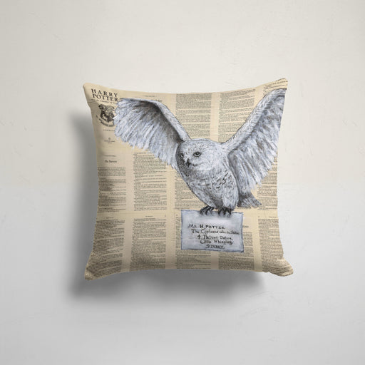 Pillow Case of Hedwig with a Hogwarts Letter on Harry Potter Book Pages
