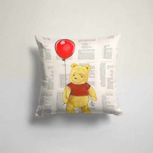 Pillow Case of Winnie the Pooh with a Red Balloon