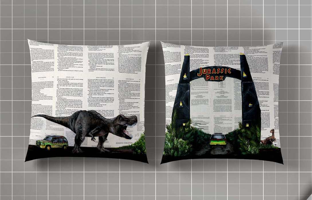Pillow Case of Jurassic Park Gates and T-Rex