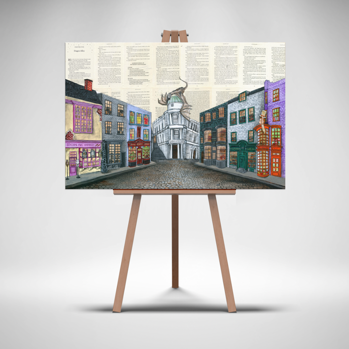 "Canvas Print 24"" x 36"" Limited Edition Canvas of Diagon Alley"