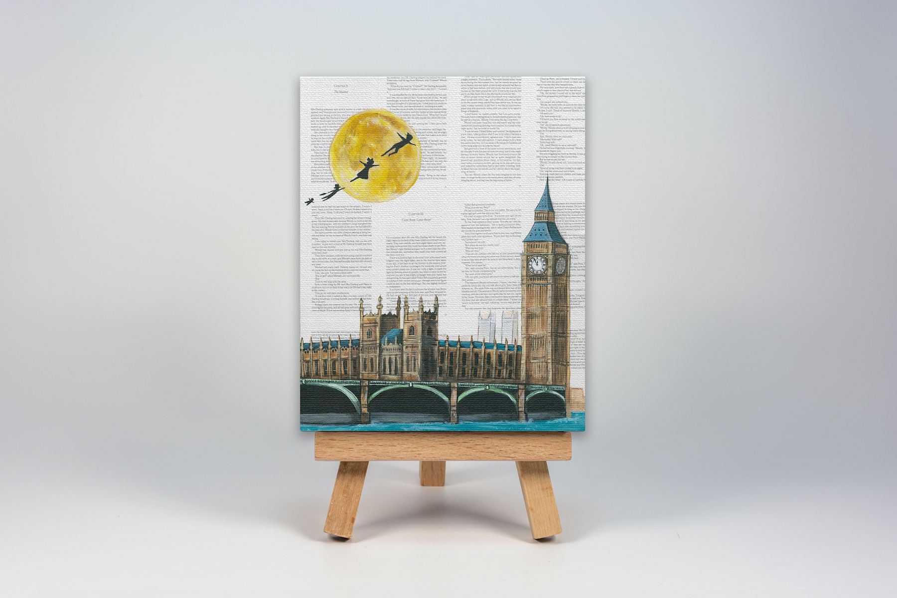 Mini Canvas Print of Peter Pan flying over London