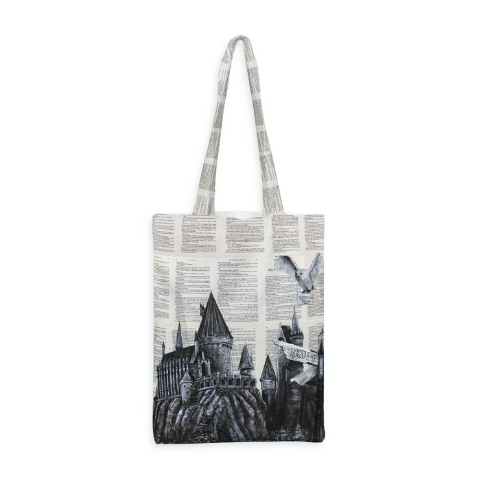 Deluxe Canvas Tote Bag of Hedwig and Hogwarts