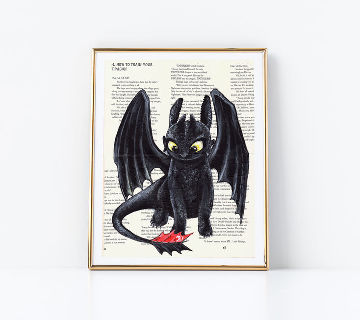 "5"" x 7"" Toothless from How to Train Your Dragon Paper Print"