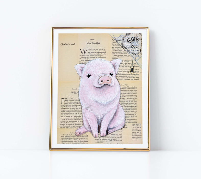 "11"" x 14"" Paper Print of Wilbur from Charlotte's Web"