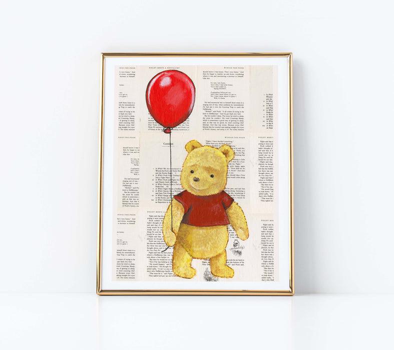 "11"" x 14"" Paper Print of Winnie the Pooh with a Red Balloon"