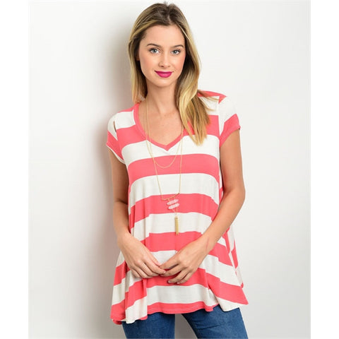 Ivory and Coral Swing Top