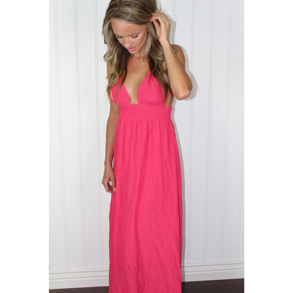 Coral Bohemian Maxi Dress,(product_type), (product description) - boutique clothing, peace Love and royalty boutique