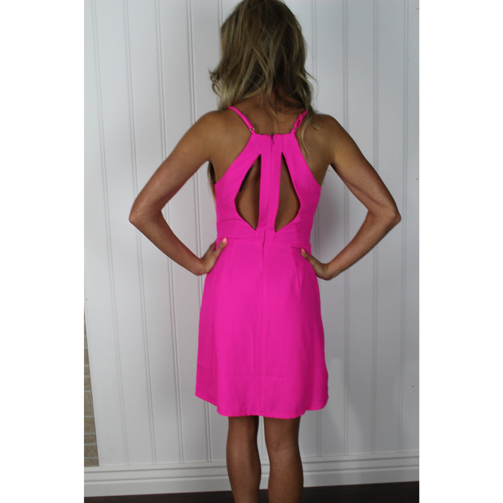 Neon Pink Cut Out Mini,(product_type), (product description) - boutique clothing, peace Love and royalty boutique