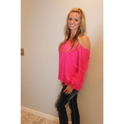 Hot Pink Cold  Shoulder Knit Top