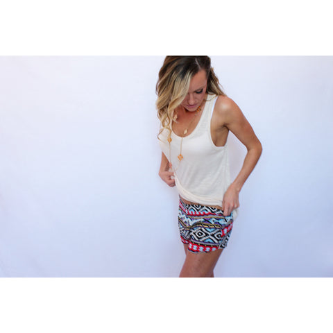 Aztec or Tribal  Print Shorts-