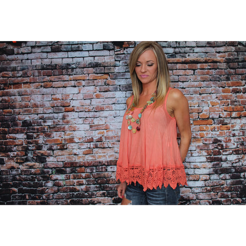 Orange Cropped Lacey Tank
