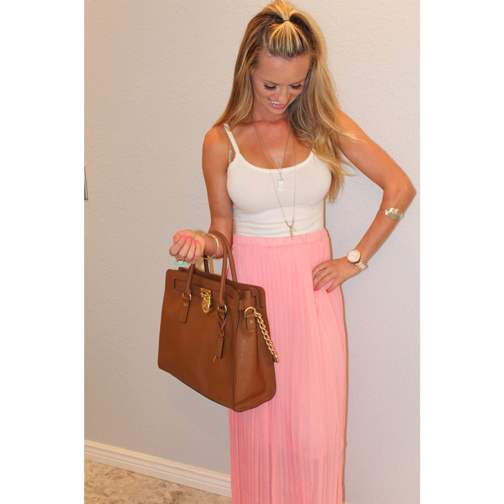 Pleated Coral Maxi Skirt,(product_type), (product description) - boutique clothing, peace Love and royalty boutique