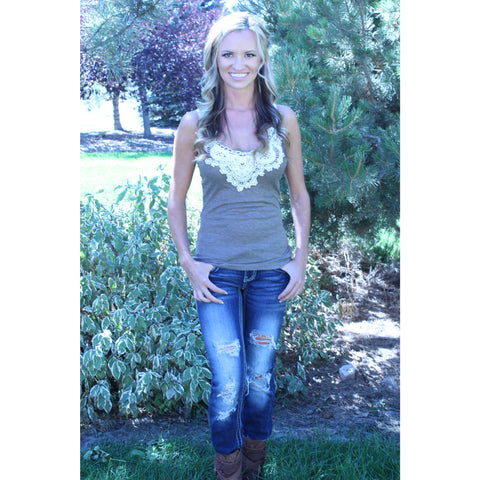 Brown Lace Tank with Crochet Detailing