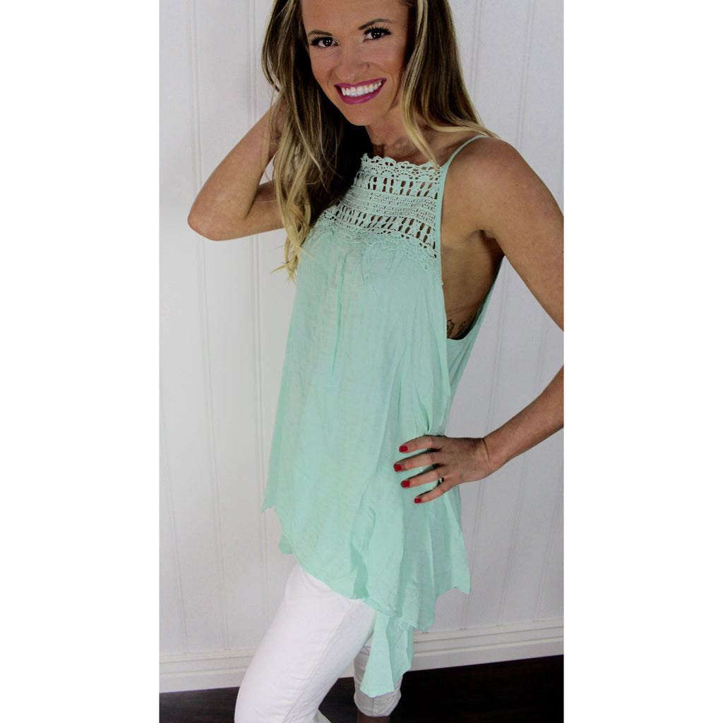 Mint Crochet Trapeze Tank,(product_type), (product description) - boutique clothing, peace Love and royalty boutique