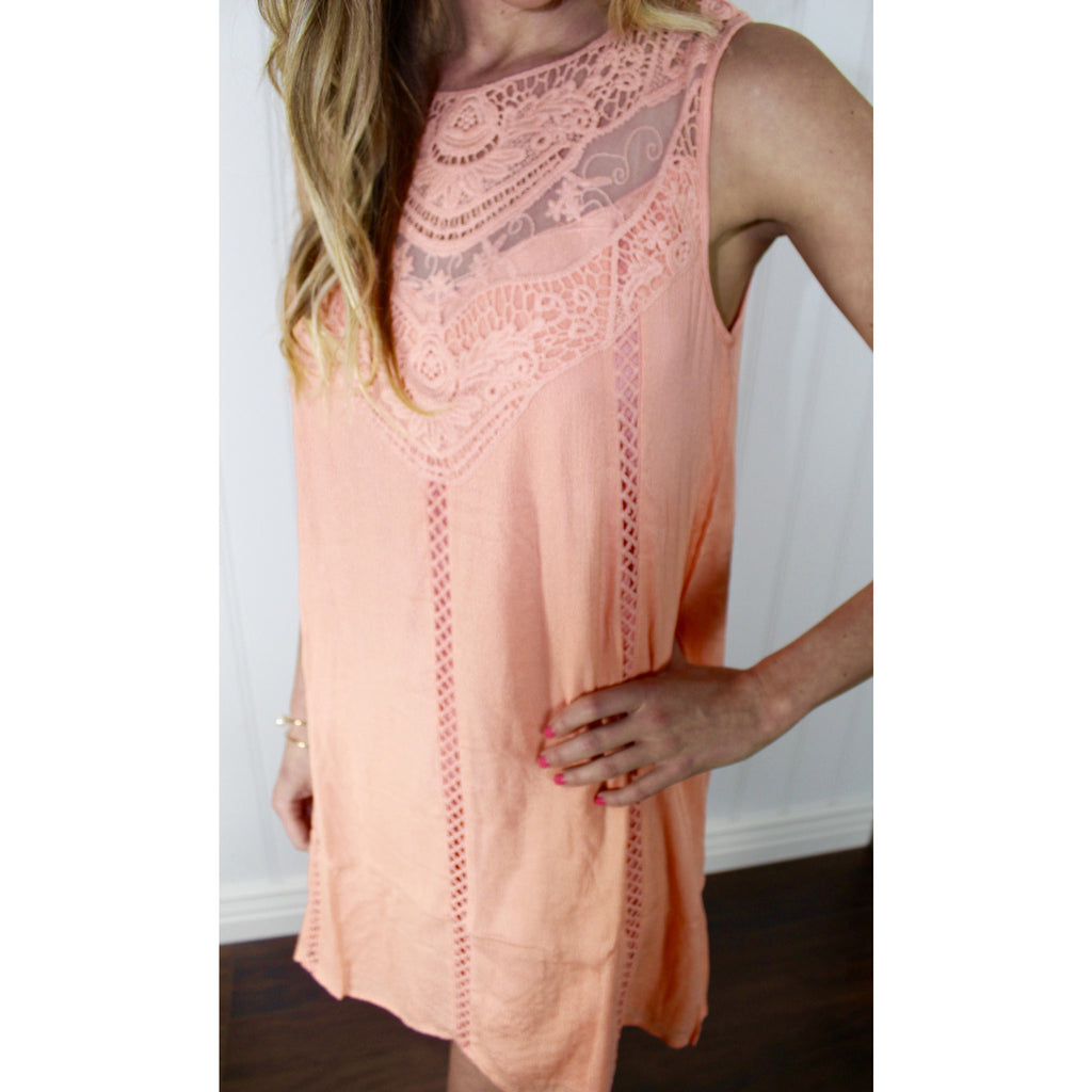 Peach Crochet Shift Dress,(product_type), (product description) - boutique clothing, peace Love and royalty boutique
