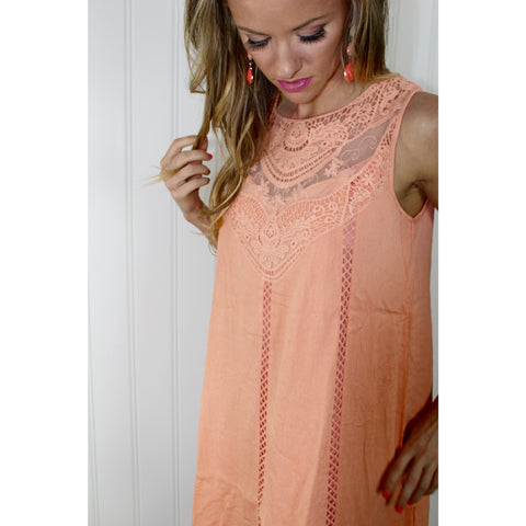 Peach Crochet Shift Dress