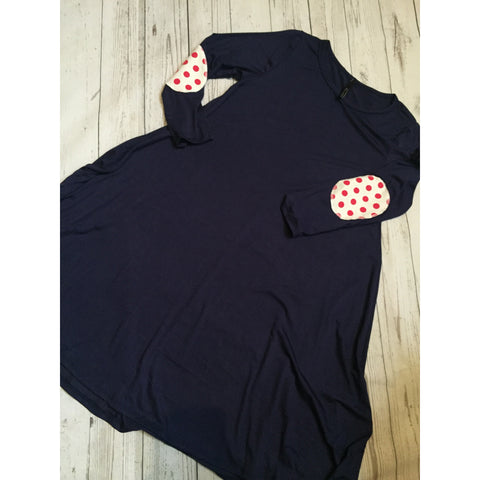 Shift dress with polka dot elbow patches