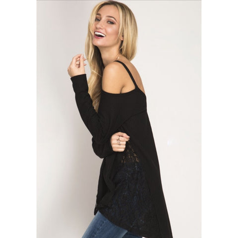 Cold Shoulder Tee With Lace Insert