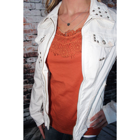 Long sleeved studded white cotton jacket
